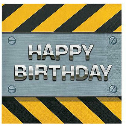 Construction Zone Happy Birthday Lunch Napkins 16ct