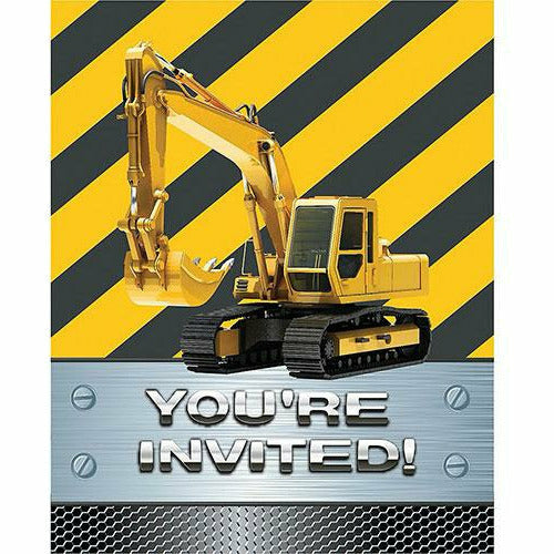 Construction Zone Invitations 8ct