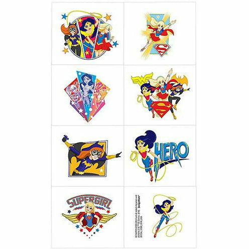 DC Super Hero Girls Tattoos 1 Sheet