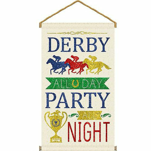 Glitter Derby Day Canvas Sign