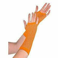 ORANGE LONG FISHNET GLOVES