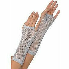 SILVER LONG FISHNET GLOVES