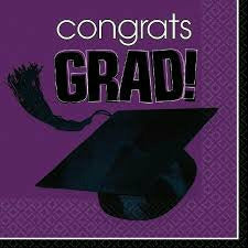 PURPLE GRAD LUNCH NAPKIN