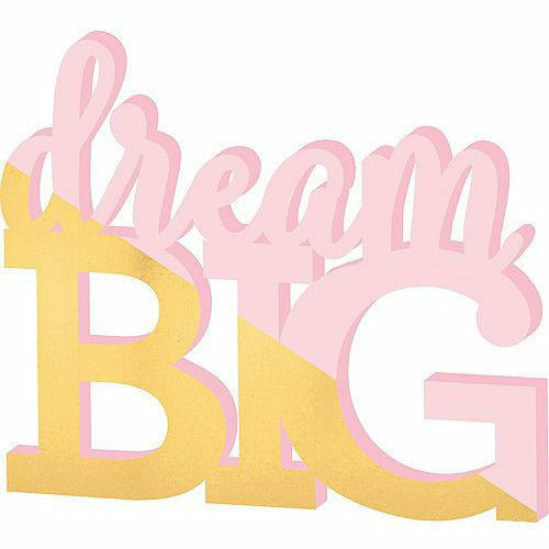 Gold & Pink Dream Big Block Letter Sign