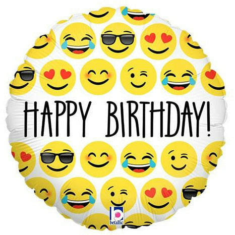 "471 Emoji Happy Birthday 18"" Mylar Balloon"