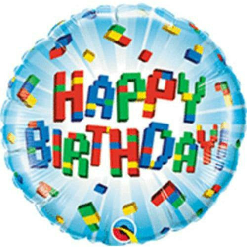 "242 Blocks Happy Birthday 18"" Mylar Balloon"