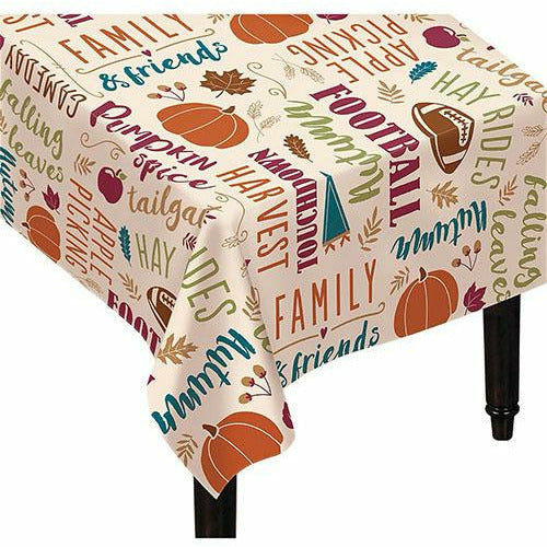 Fall Turkey Fabric Tablecloth
