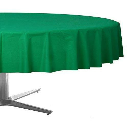 Festive Green Plastic Round Table Cover