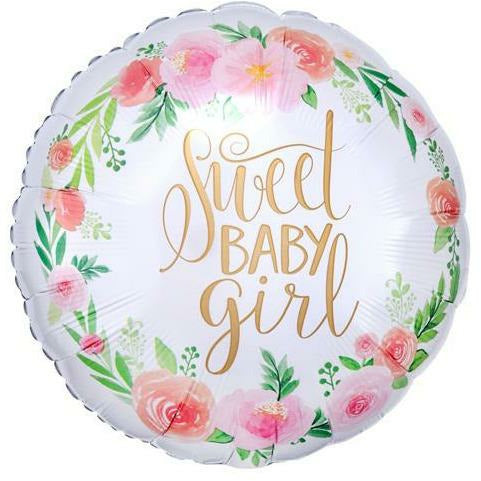 "524 Floral Sweet Baby Girl 18"" Mylar Balloon"