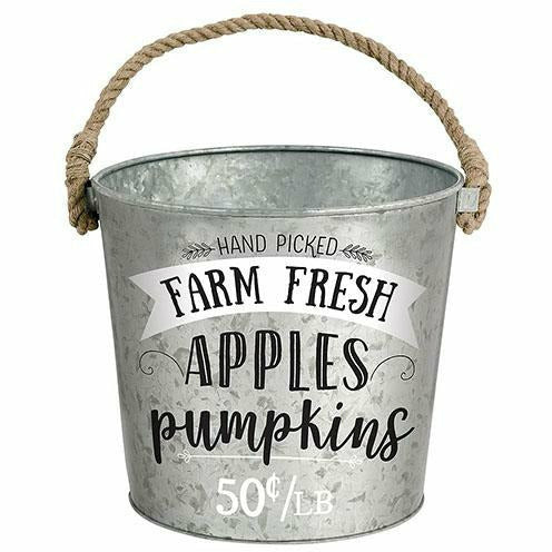 Fresh Apples & Pumpkins Galvanized Bucket