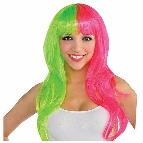 Glamorous Black Light Neon Pink & Green Wig