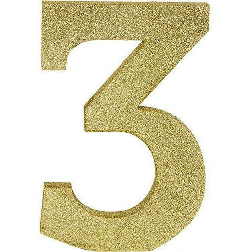 Glitter Gold Number 3 Sign