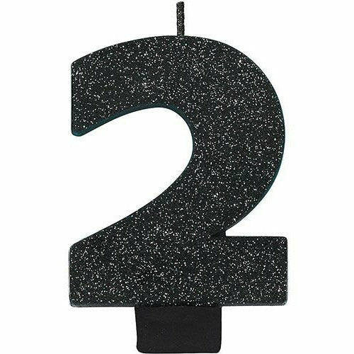 Glitter Black Number 2 Birthday Candle