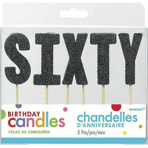 Glitter Black Sixty Birthday Toothpick Candle Set 5pc