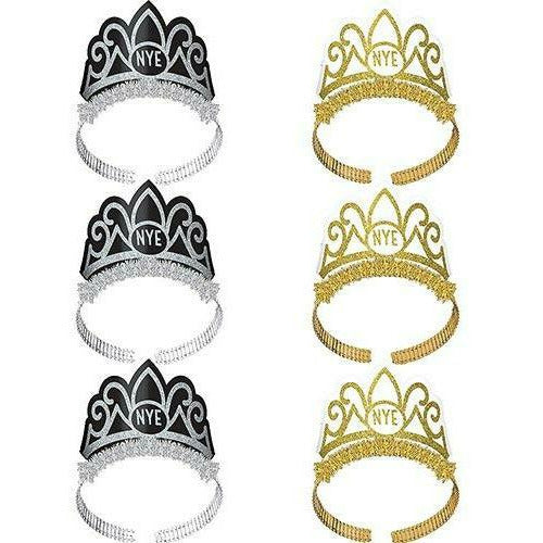 Glitter Black, Silver & Gold New Year's Eve Tiaras 6ct