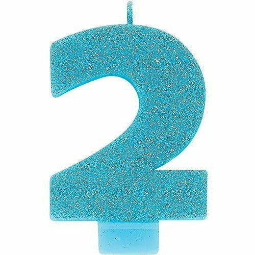 Glitter Caribbean Blue Number 2 Birthday Candle