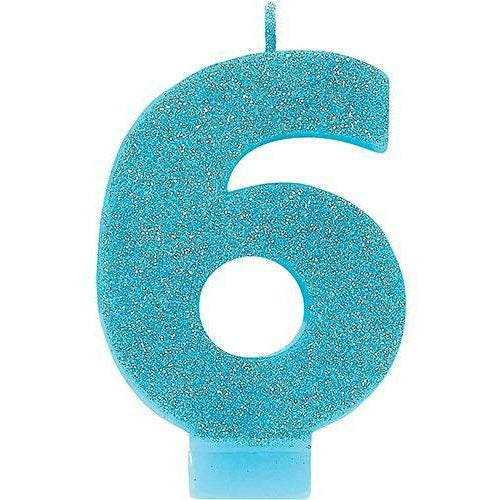 Glitter Caribbean Blue Number 6 Birthday Candle
