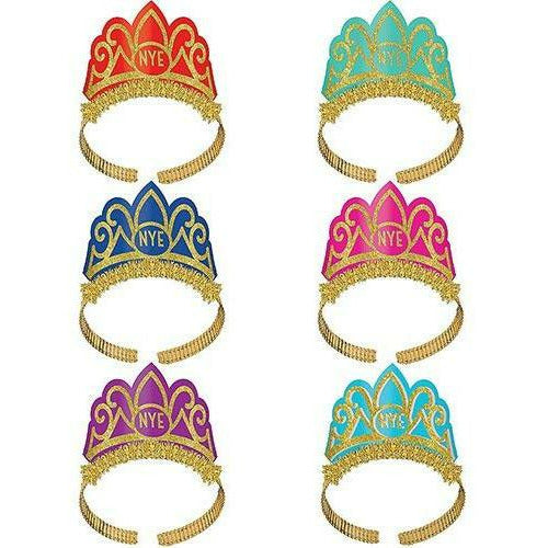 Glitter Colorful New Year's Eve Tiaras 6ct
