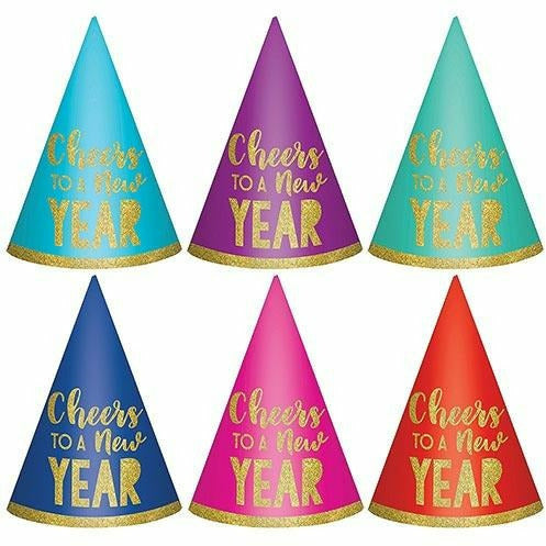 Glitter Cheers to a New Year Party Hats 6ct