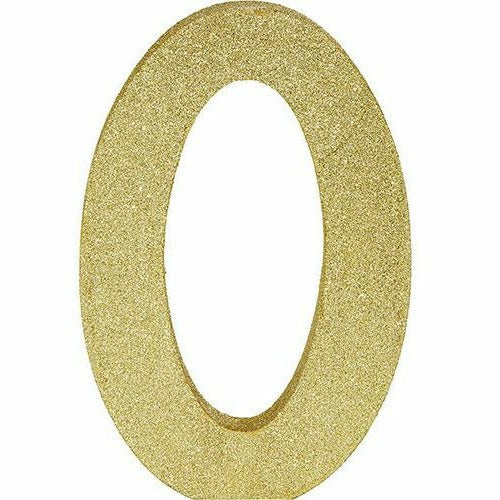 Glitter Gold Number 0 Sign