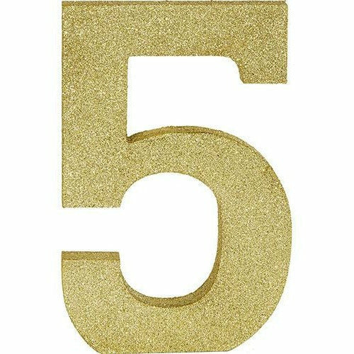 Glitter Gold Number 5 Sign
