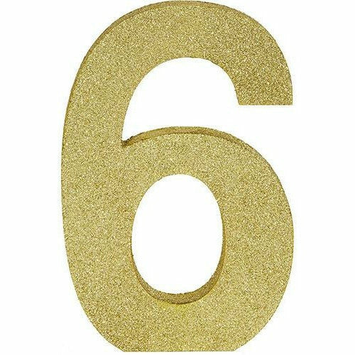 Glitter Gold Number 6 Sign