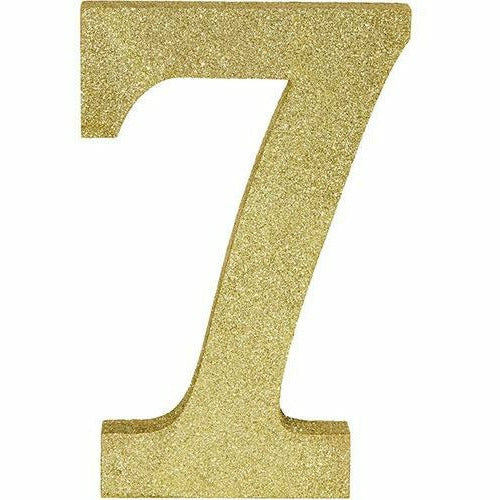 Glitter Gold Number 7 Sign