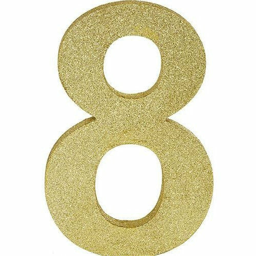 Glitter Gold Number 8 Sign