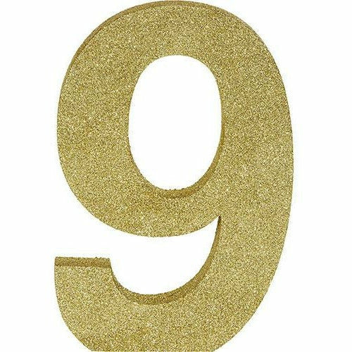 Glitter Gold Number 9 Sign