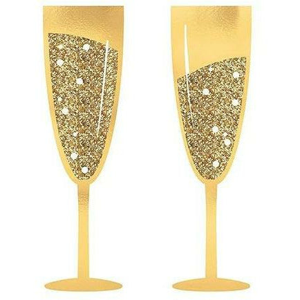 Glitter Gold Champagne Flute Photo Booth Props 2ct
