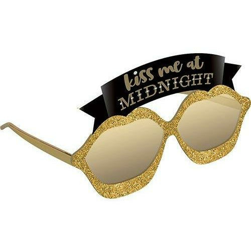 Glitter Gold Kiss Me at Midnight New Year's Eve Sunglasses