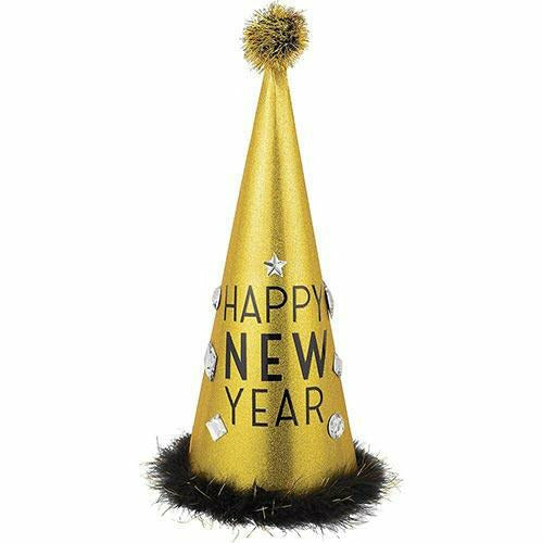 Glitter Gold Tall New Year's Eve Cone Hat