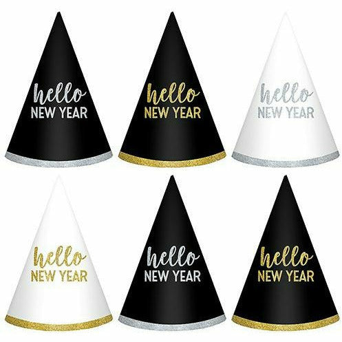 Glitter Hello New Year Party Hats 6ct