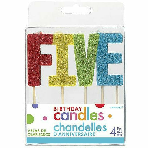 Glitter Multicolor Five Birthday Toothpick Candle Set 4pc