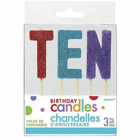 Glitter Multicolor Ten Birthday Toothpick Candle Set 3pc