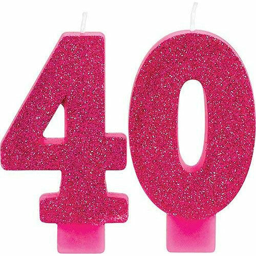 Glitter Pink Number 40 Birthday Candles 2ct