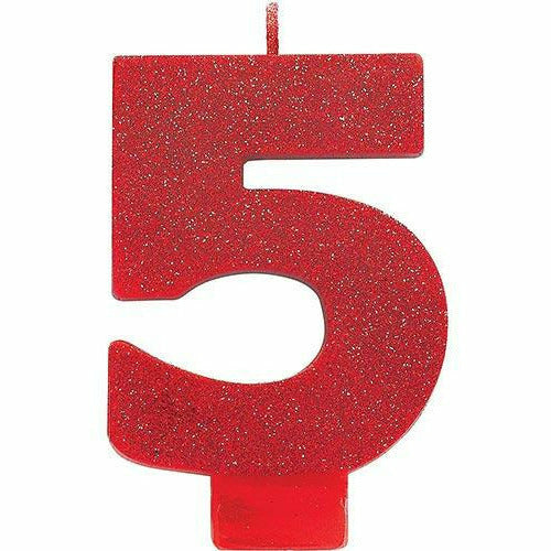 Glitter Red Number 5 Birthday Candle