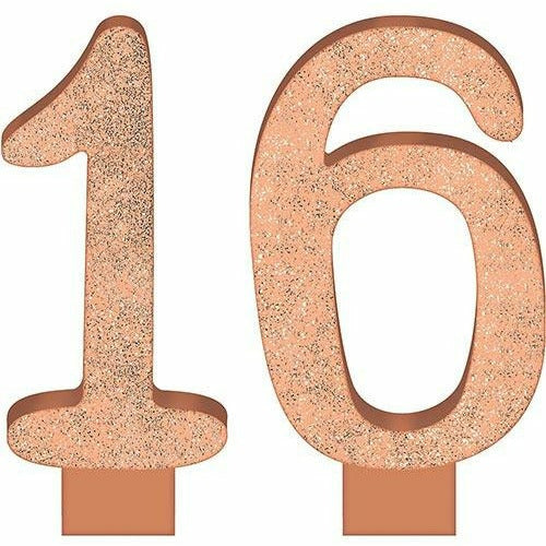 Glitter Rose Gold Number 16 Birthday Candles 2ct