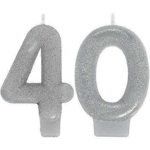 Glitter Silver Number 40 Birthday Candles 2ct
