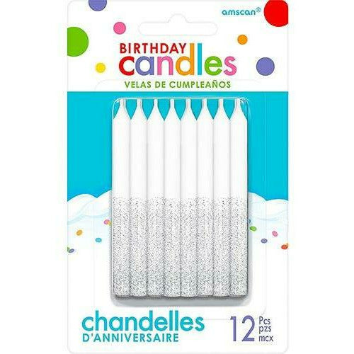 Glitter Silver Birthday Candles 12ct