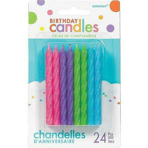Glitter Multicolor Bright Spiral Birthday Candles 24ct