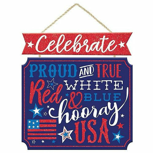 Glitter Patriotic Proud & True Stacked Sign
