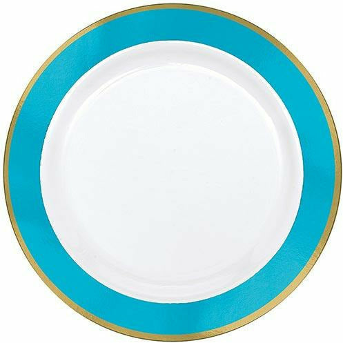 Gold & Caribbean Blue Border Premium Plastic Dinner Plates 10ct