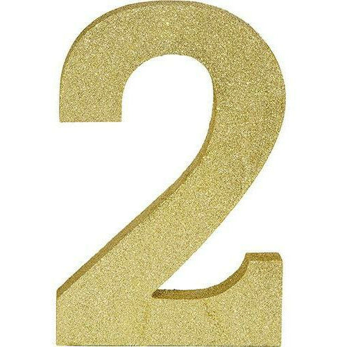 Glitter Gold Number 2 Sign