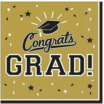 Gold Congrats Grad Lunch Napkins 36ct
