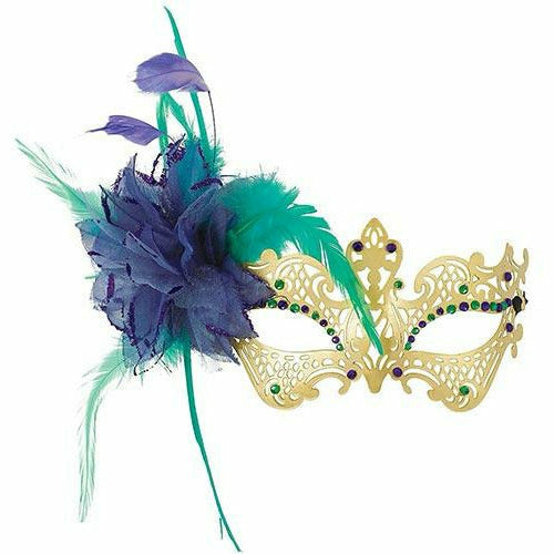 Gold, Green & Purple Filigree Feather Masquerade Mask