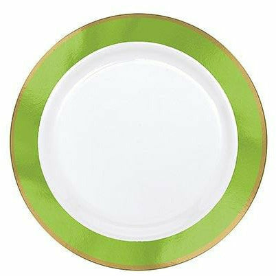 Gold & Kiwi Green Border Premium Plastic Appetizer Plates 10ct