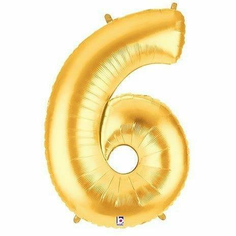 "*A013 Gold Number 6 Jumbo 40"" Mylar Balloon"