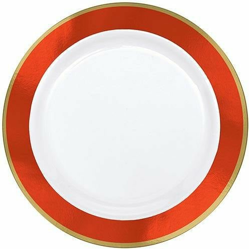 Gold & Orange Border Premium Plastic Dinner Plates 10ct