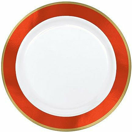 Gold & Orange Border Premium Plastic Lunch Plates 10ct